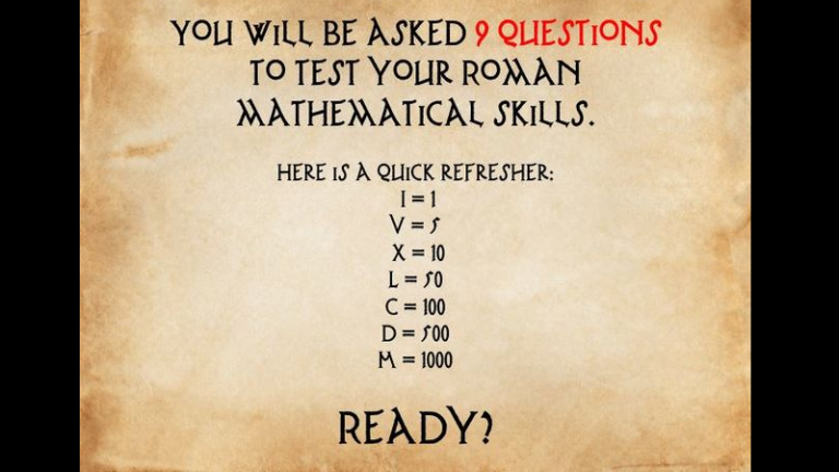 Can You Pass This Basic Roman Numerals Math Test?