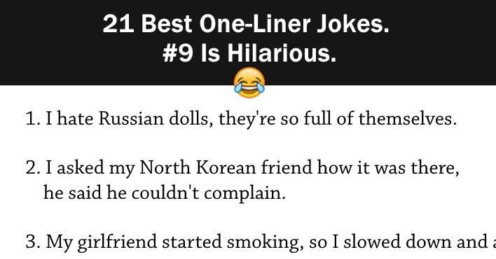 Best OneLiner Jokes Is Hilarious Surveee - 21 best one line jokes ever